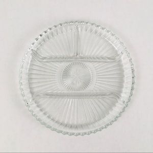 Vintage Art Deco divided 10-inch glass relish tray
